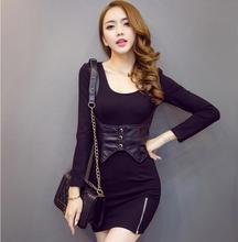 Latest Autumn/Winter Fashion Women clothing Sexy Pullover Long sleeve Ladies Dress Leather Patchwork Slim Big yards Dress NZ46