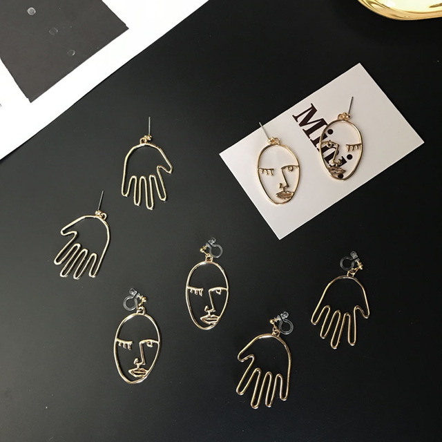 2017 Nowy Trend w Modzie Złoto Ton Twarzy/Ręcznie Oświadczenie Dangle Kolczyki Dla Kobiet Chic Palm Fałszywy Piercing Kolczyki Bijoux