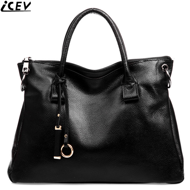 ICEV 100% genuine leather women handbag famous brands casual solid soft big tote bag designer messenger bag office work clutches icev famous designer brand women leather handbags large capacity shopping bag high quality big black casual tote bag soft bolsas