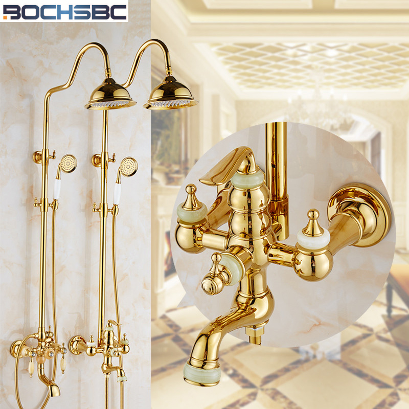 BOCHSBC Gold Shower Head Set European Style Vintage Shower Head with ...