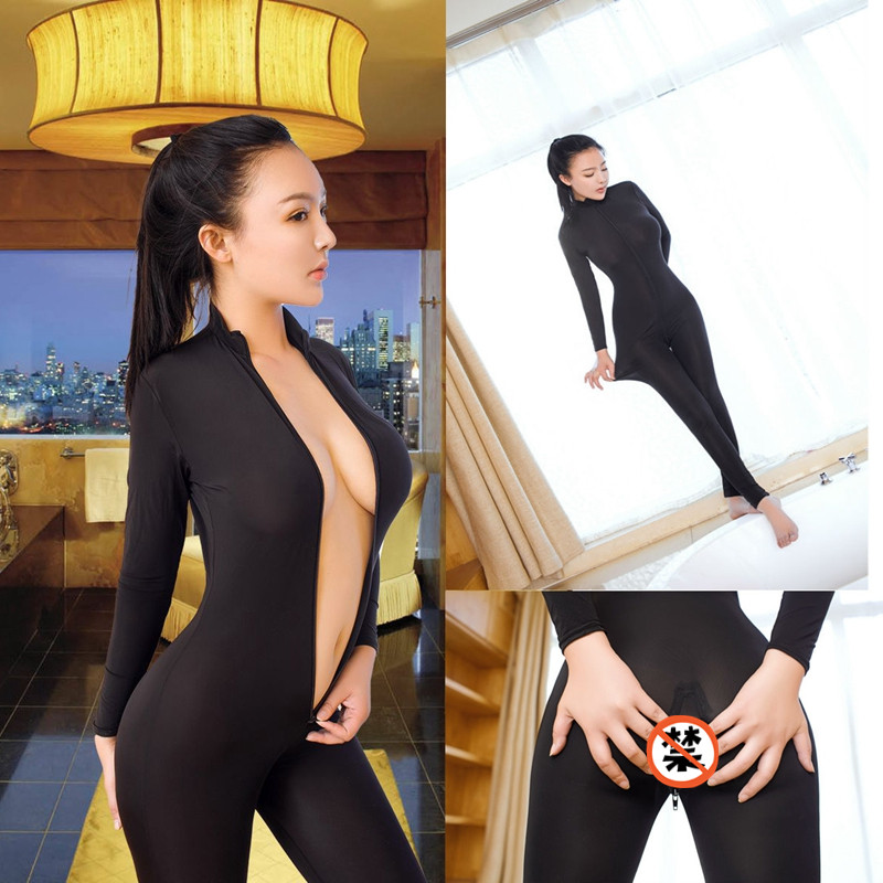 Black Romper Jumpsuits Overalls Mesh See-Through Open-Crotch Long-Sleeve Skinny Bodycon title=