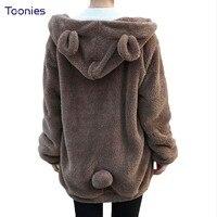 Winter Hoody 2016 Hoodies For Women Fluffy Bear Ear Hooded Hoodie Coat Sweatshirts Warm Loose Casual