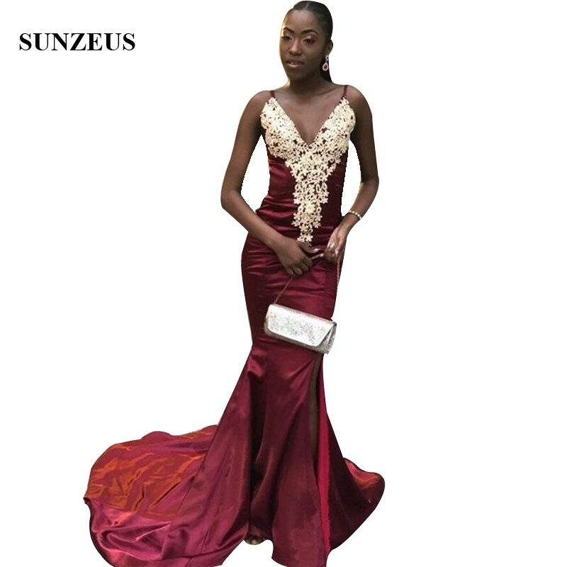 Appliques en or bordeaux robes de bal 2019 bretelles Spaghetti v-cou sirène femmes longues robes pour fête Satin vêtements de cérémonie