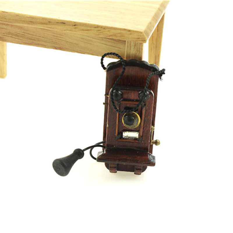 1:12 Miniature Vintage Style Wall Mount Phone Dollhouse Antique Furniture Accessories For Livingroom Bedroom Kitchen Decoration