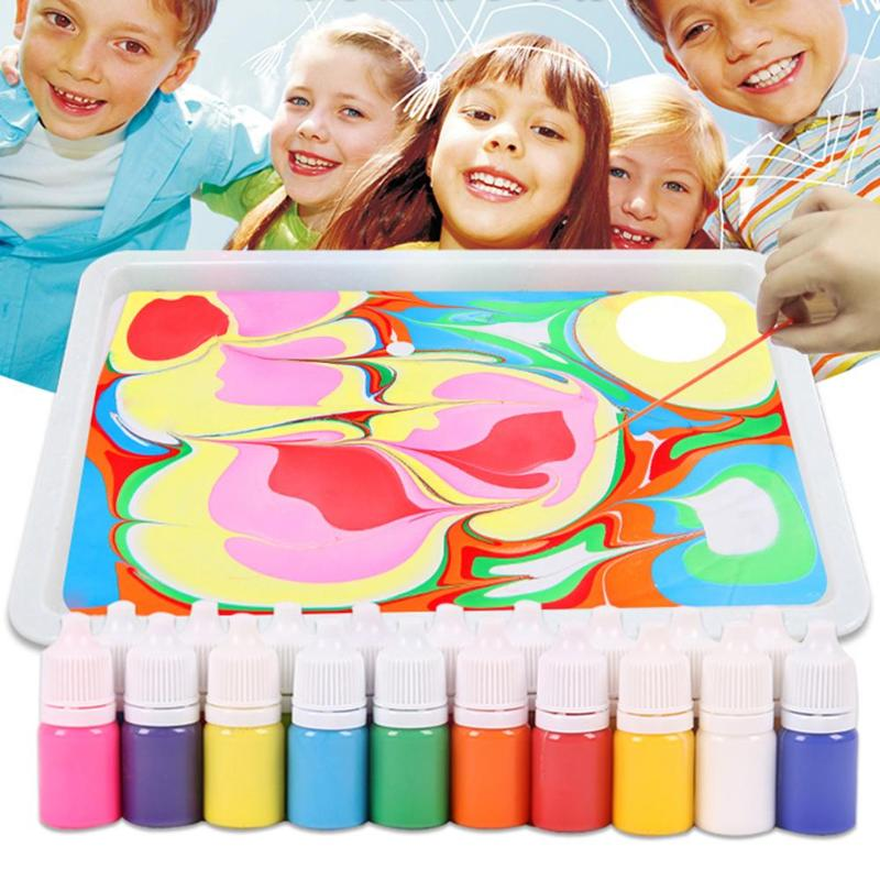 9 color,6ml/pc Painting Pigment Set Children Water Extension Paint Non-toxic Art Painting Included Drawing Plate Pigments the sampar sampar 6ml