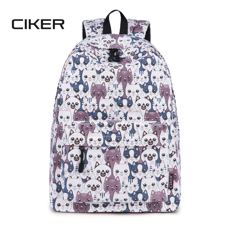 CIKER Women Backpack Cat Printing Canvas School Bags For Teenager Girls  Preppy Style Rucksack Cute Book Bag Mochila Feminina Hot for sale in  Pakistan adf5025966b71