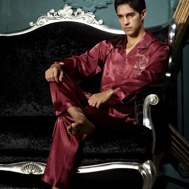 2017 New Dark Red Gentlemen Full Sleeve Pajama Sets Imitation Silk Sleepwear Turn- Down Collar Nightclothes For Men Pijama 3313