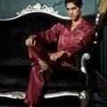 2017 Nuevo Rojo Oscuro Señores Manga Completo Da Vuelta-Abajo Al Collar ropa de Dormir Conjuntos de Pijamas ropa de Dormir de Seda de Imitación De Los Hombres Pijamas 3313