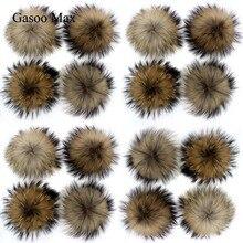20 pompons en fourrure de raton laveur noir naturel 15cm à faire soi même, pour les bonnets tricotés, casquettes, porte clés et écharpes, vente en gros