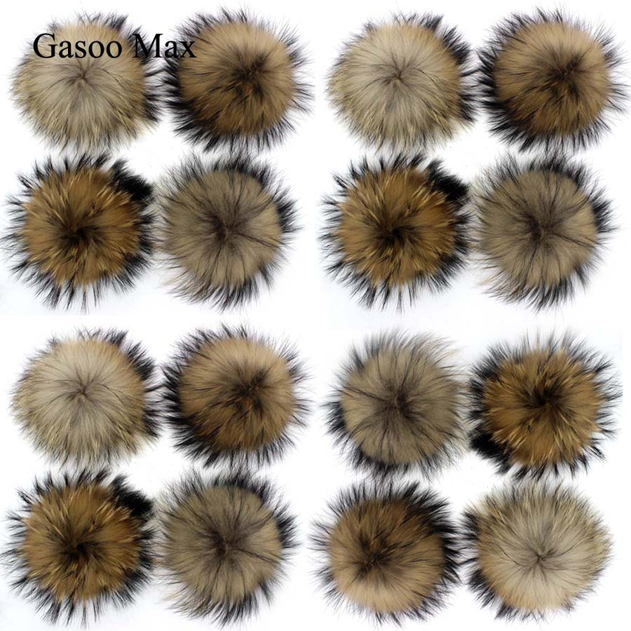 20pcs/ Lot DIY 15cm Real Natural Black Raccoon Fur Pompoms For Knitted Beanies Hat Caps Keychain And Scarves Fur Pom Wholesale