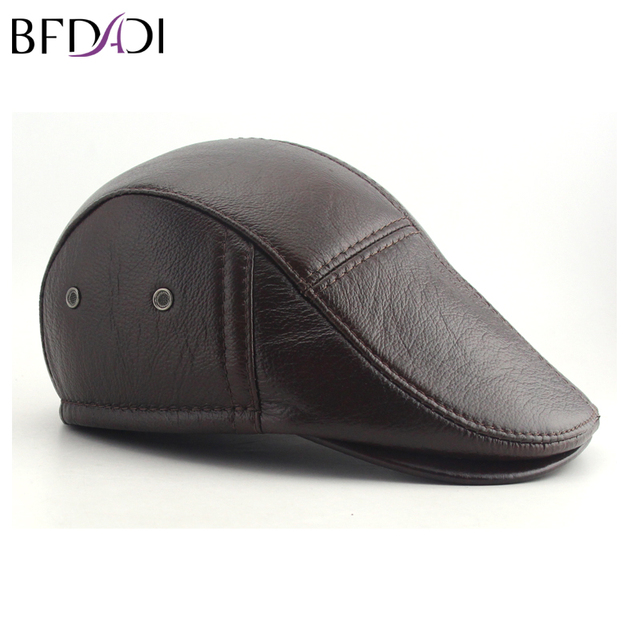BFDADI Big Size 62cm 2018 Faux Leather Baseball Caps Men Winter Hats with  Ear Flaps Men s 416085ab70f