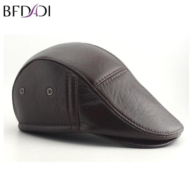 6c00fc5fc225f BFDADI Big Size 62cm 2018 Faux Leather Baseball Caps Men Winter Hats with Ear  Flaps Men s Warm Hat