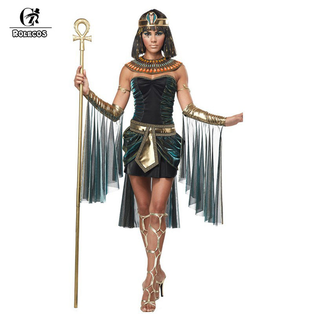 ROLECOS Halloween Clothes Women Sleeveless Arab Queen Of Egypt Cleopatra  Black Cosplay Costume Ladies Sexy Fancy Dress Clothes