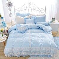 Хлопок кружева принцесса ветер кровать юбка покрыты 4 шт. Мэрилин Монро 3d размер постельные принадлежности Королева постельных принадлежно