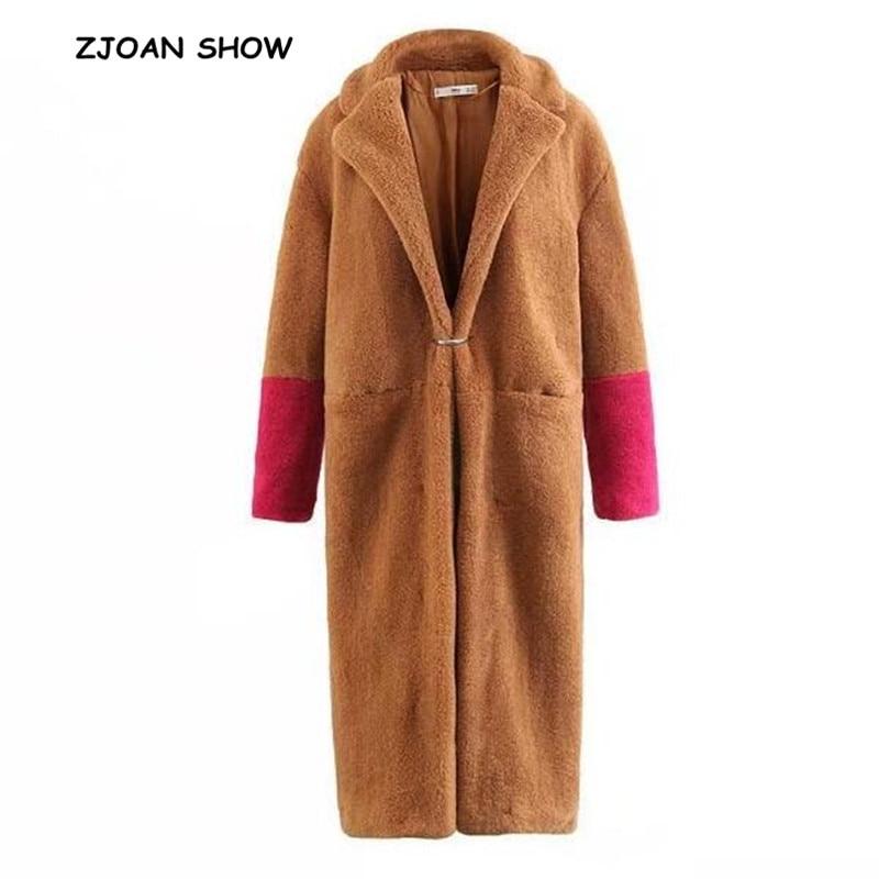 Новинка 2018, женское длинное пальто из мохнатого искусственного меха с зазубренным воротником, пушистые длинные куртки, сохраняющие тепло, верхняя одежда