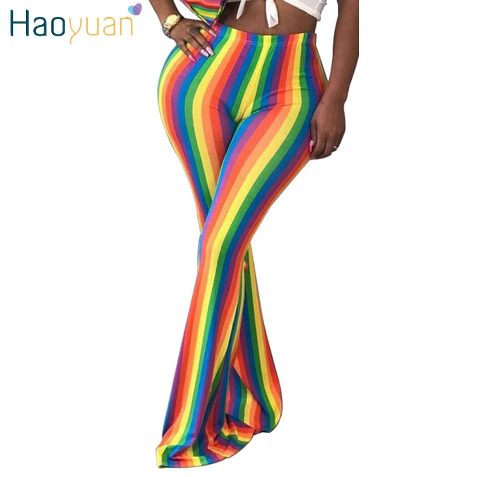 HAOYUAN Sexy Rainbow Striped Flare Pants 2018 Fashion Casual Stretch Pants Trousers Skinny Long High Waist  Bottom Bell Pants