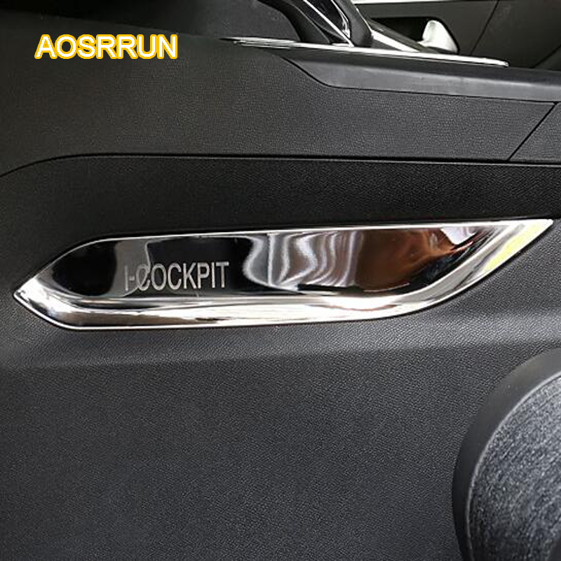 AOSRRUN Stainless steel middle side of the trim interior decoration Cover Car accessories FOR Peugeot 5008 2017 aosrrun after the stainless steel backboard of the guard board the rear guard plate car accessories for acura cdx 2016 2017