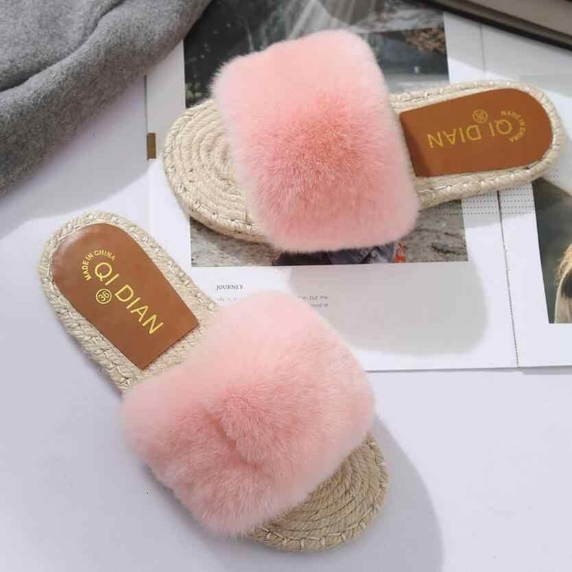 ea7eaf9e7cc Detail Feedback Questions about women fur slippers flat heel rope ...