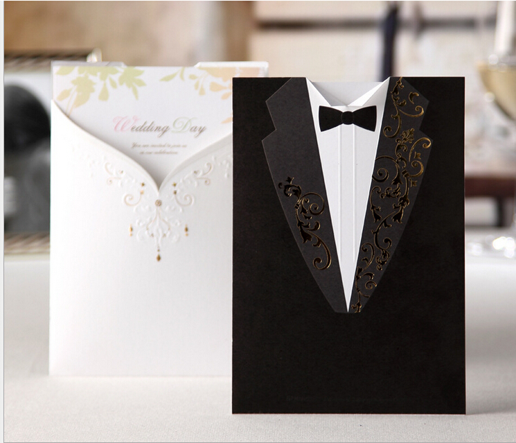 100psc Laser Cut Black Wedding Invitations Creative Elegant Vintage Groom And Bride Black White