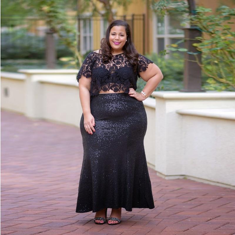 Grande taille paillettes noires jupes femmes paillettes brillantes sirène Jupe sur mesure longueur de plancher Jupe crayon Saias Jupe Longa
