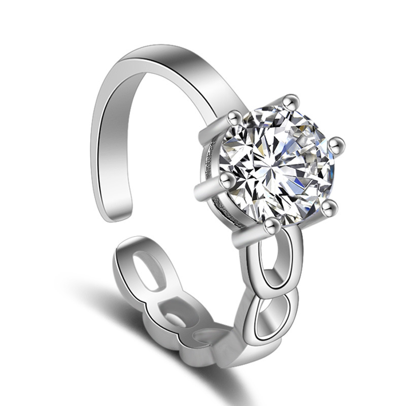 Free Shipping 1Pcs Jewelry Ring For Women Silver-color Austrain Crystal Hollow Circle Adjustable Ring Size Engagement Rings