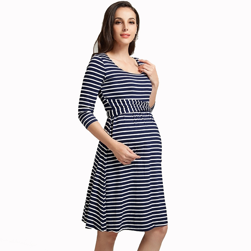 Spring Maternity Clothes Knee-length O-neck 3/4 Sleeve Striped Maternity Dress for Pregnant Women High Waist Slim Women Vestidos woman fashion slim solid knee distrressed maternity wear jeans premama pregnancy prop belly adjustable pants for women c73