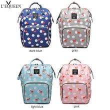 Lequeen Flamingo pattern Mummy Bag Large Capacity Travel Nursing Bag Multiple Backpack Portable Nappy Bag Diaper Puerperal Bag