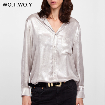 WOTWOY 2019 Summer Silver Apricot Blouse Women Casual Long Sleeve Chiffon Womens Tops And Blouses Female Pockets O-Neck Harajuku Blouses