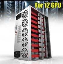 2018 Crypto Coin Open Air Mining Frame Rig Graphics Case ATX Fit 12 GPU Ethereum ETH ETC ZEC XMR Magnalium Alloy 12cm Fans