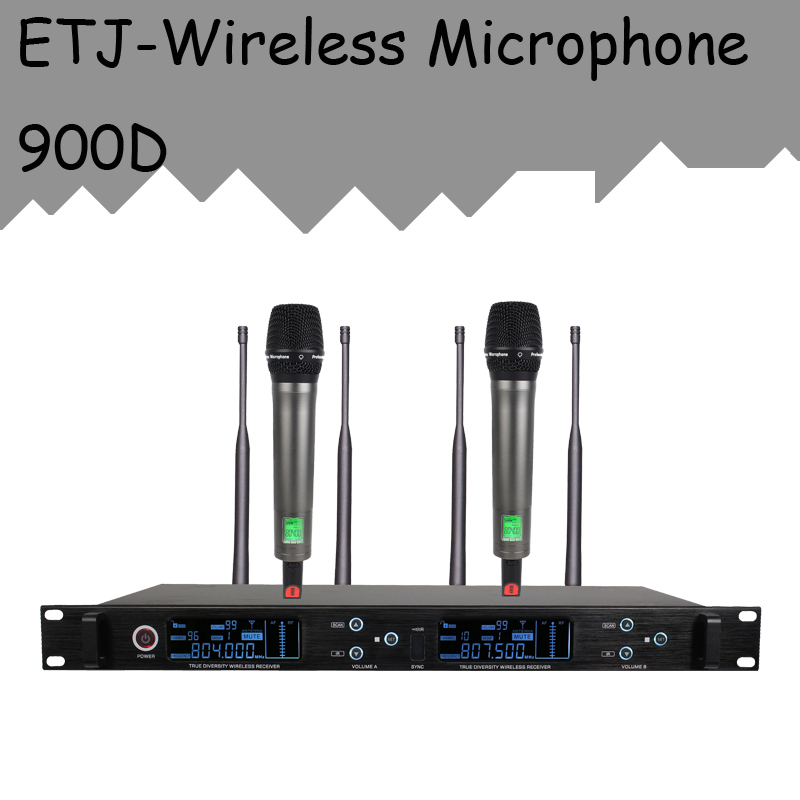 ETJ Brand True Diversity Professional Dual UHF Wireless Microphone 2 Transmitter 4 Receiver Stage Performance Microphone 900D new type true diversity em2500 em3032 wireless microphone system for stage karaoke 2 performances