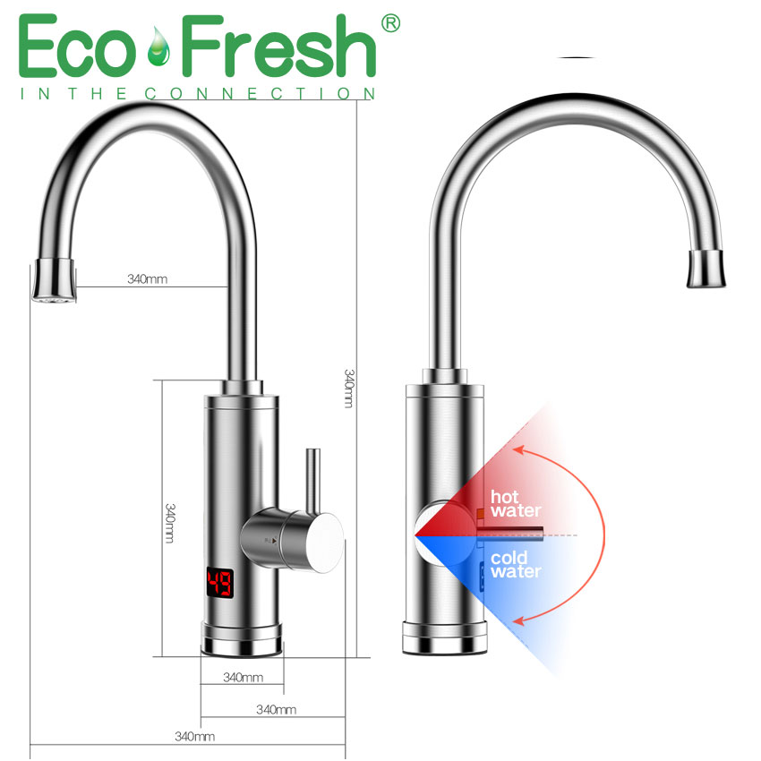 Ecofresh Electric Kitchen Water Heater Tap Instant Hot Water Faucet Heater Cold Heating Faucet Tankless Instantaneous Heater