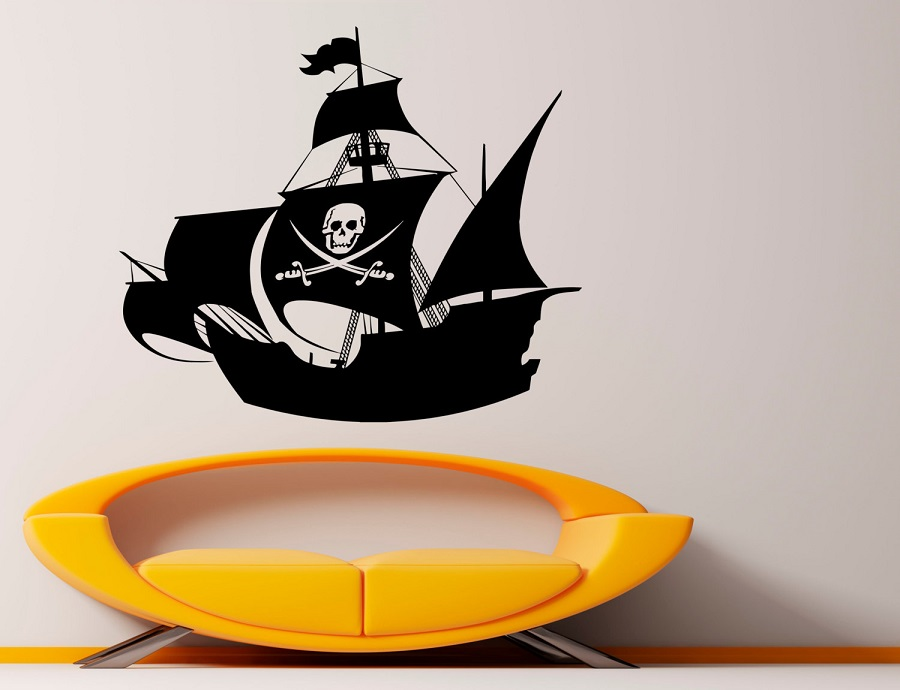 Image 1 - Pirate Ship vinyl wall sticker nautical enthusiasts indoor bathroom bathroom home decoration art wall decal 1HH16-in Wall Stickers from Home & Garden