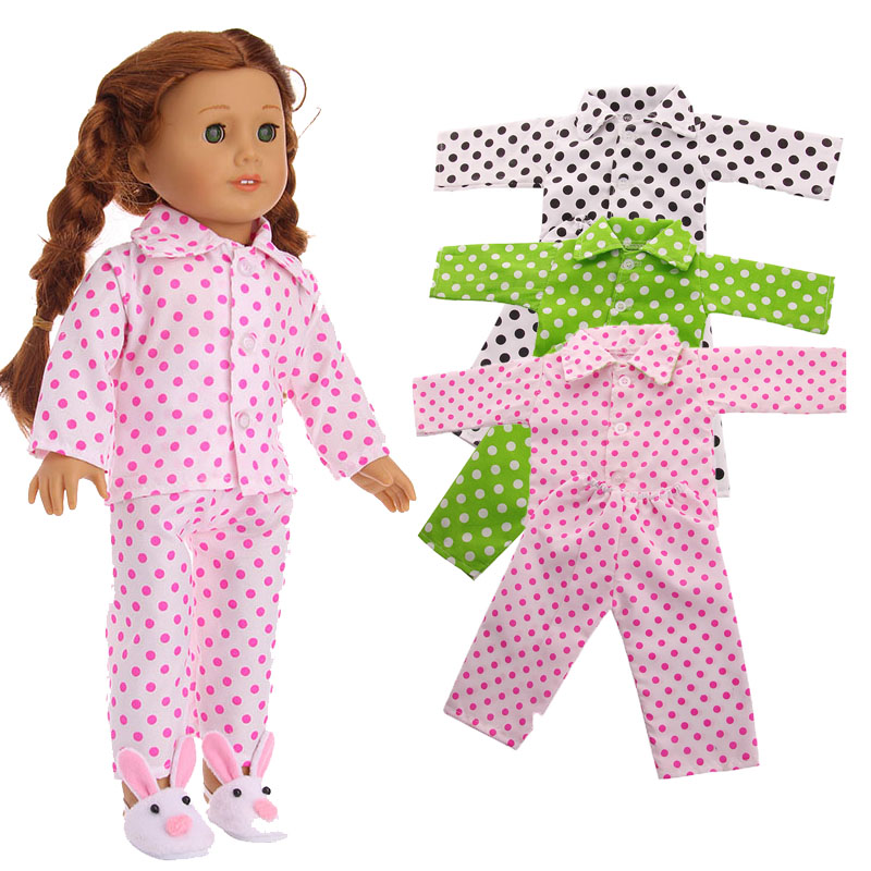 3 Colors Pajamas Doll Clothes Fit 18 Inch American Doll & 43 Cm Baby Doll For Our Generation  Girl`s Toy