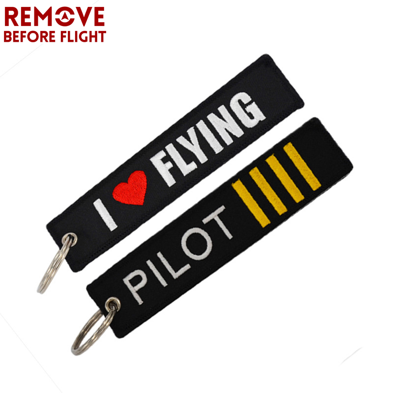 2PCS Remove Before Flight Key Chain Embroidery Pilot I Love Flying Key Ring Luggage Tag Label Motorcycles Car Jewelry Keychain