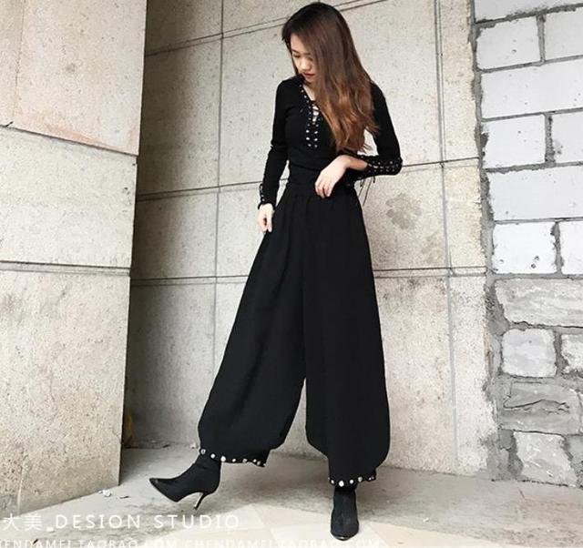 2019 spring new fashion loose wide leg pants women elastic high waist casual lantern pants