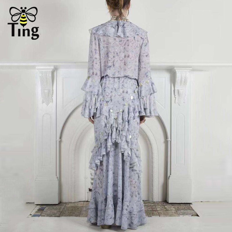 Tingfly Neue Saison Runway Designer Lace Up v ausschnitt Rüschen Maxi Kleid Party Nacht Kleider Luxus Stil Floral Quaste Lange vestido - 3