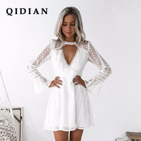 QI DIAN HIGH QUALITY Newest 2018 Summer Self Portrait Dress Women S Long Sleeve Hollow Out