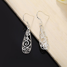 Silver Plated Retro Charms Flower Design Earring Jewelry