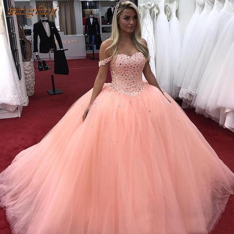 4386432bc6c7515 Quinceanera платья для женщин 2019 длинное бальное платье с открытыми  плечами тюль выпускного вечера дебютантка шестнадцать