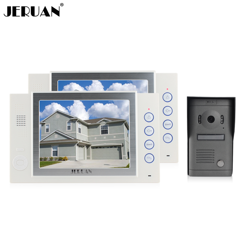 JERUAN 8 inch LCD screen video doorphone recording photo taking Home video door phone doorbell monitor intercom system jeruan 8 inch video door phone high definition mini camera metal panel with video recording and photo storage function