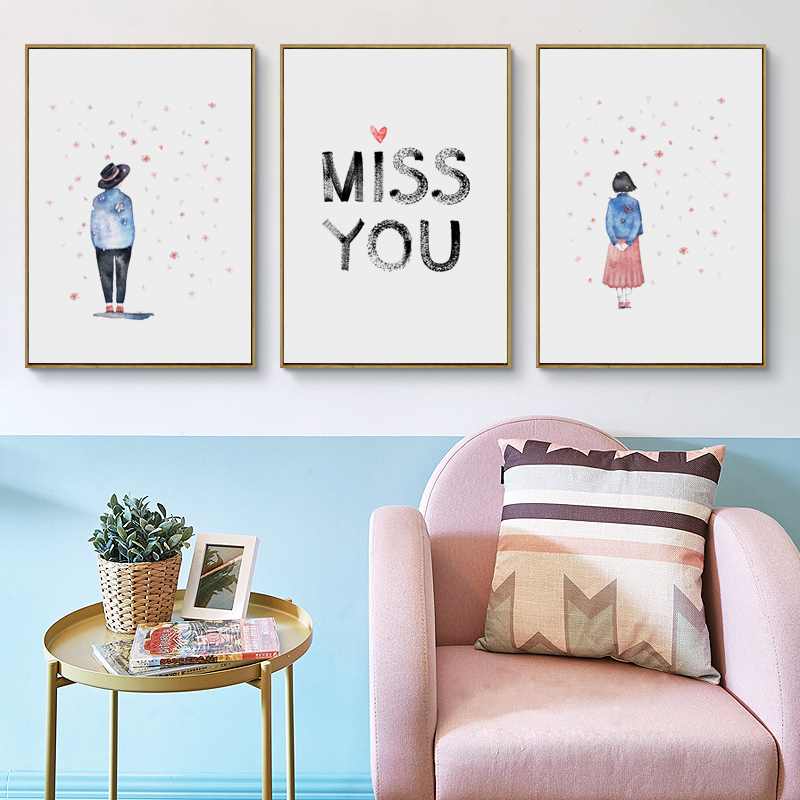 Bianche Wall Sweet Couple Abstract Watercolor Simple A4 Canvas Painting Print Poster Picture Art Bedroom Home Decorative