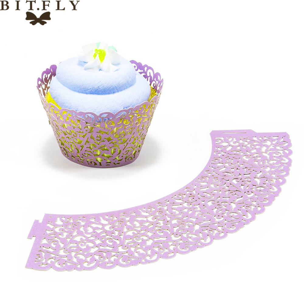 12pieces/lot Laser Cut Lace Wedding Cupcake Wrapper Filigree Vine Wraps Collars Cups Baby Shower Party Table Decoration