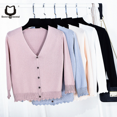 Womens sweater V-neck knitted candy color ladies knit thin Cardigan ice Silk UV sun protected knitting sweater knitwear