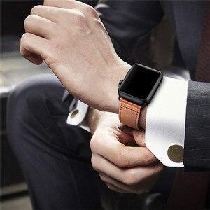 Image 2 - Correa de cuero genuino marrón correa de bucle para Apple Watch 4 3 2 1 38mm 40mm , VIOTOO hombres correa de reloj de cuero para iwatch 4 44mm