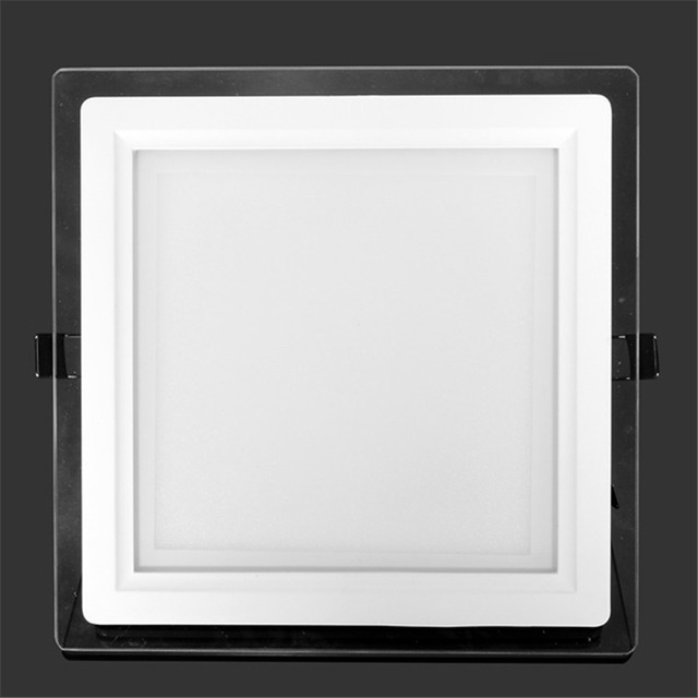8 Inch Ceiling LED Downlight 24W Glass Panel Light Recessed Lighting Lamp Square For Home Warm Cold White