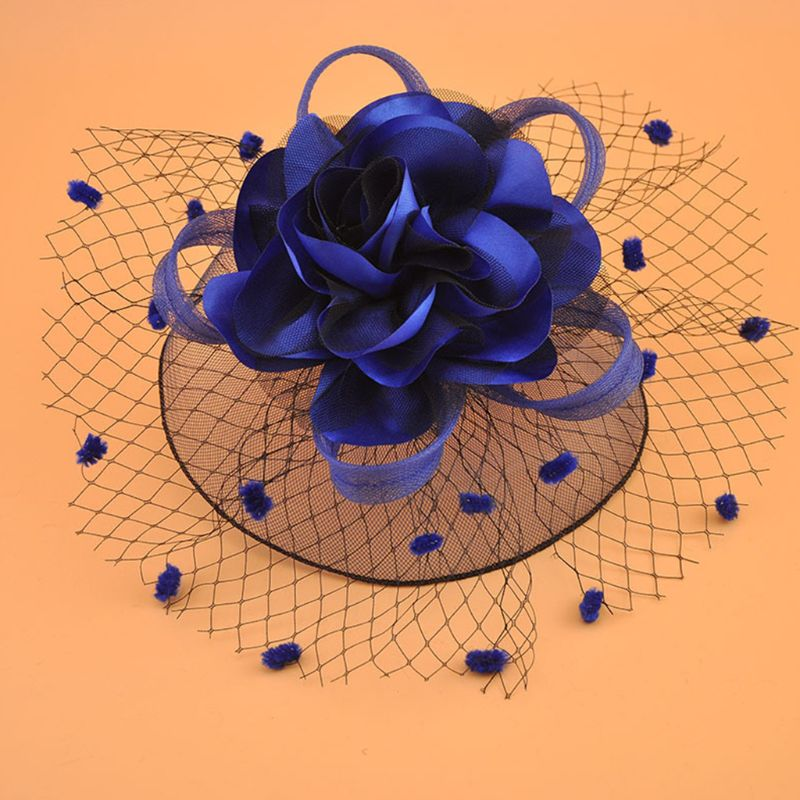 Girl Mesh Veil Hat Wedding headwear Elegant Ribbon Big Flower Solid Color Fascinator Small Plush Wave Point Bridal Hair pins gai(China)