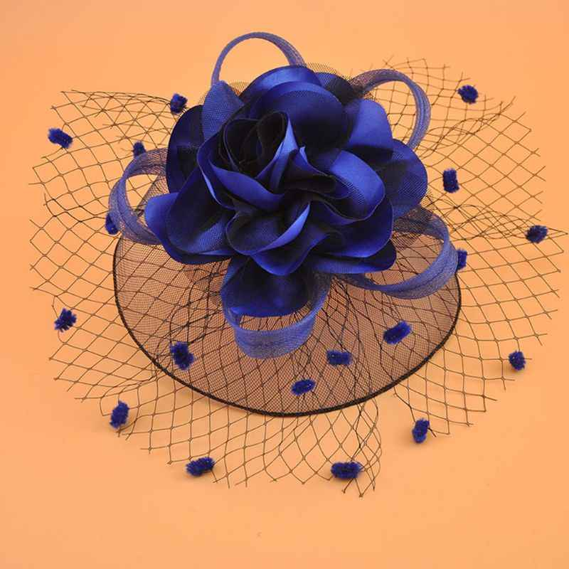 Girl Mesh Veil Hat Wedding headwear Elegant Ribbon Big Flower Solid Color Fascinator Small Plush Wave Point Bridal Hair pins gai