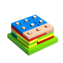 Montessori Educational toy shape cognitive pairing color wooden blocks math for