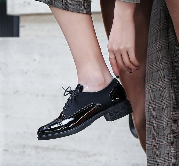 Mode Casual Up Rue Oxford Rond Mujer De Mocassins Chaussures En Picture Zapatillas Cuir Styles Femme Femmes Britannique As Pour Bout Lace aFwTqX