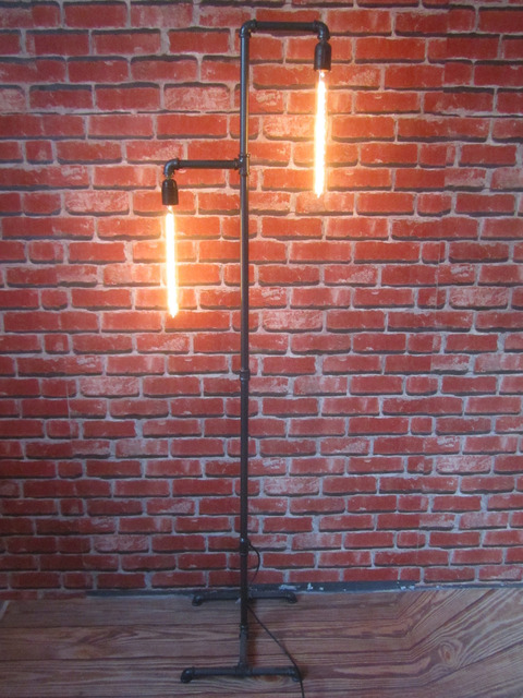 VINTAGE INDUSTRIAL RETRO URBAN RUSTIC STEEL PIPE FLOOR LAMP 165CM TALL HOME BAR RESTAURANT COFFEE SHOP